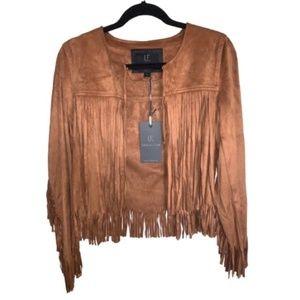 Unreal Fur Layered Fringe Suede Jacket Ginger NWT